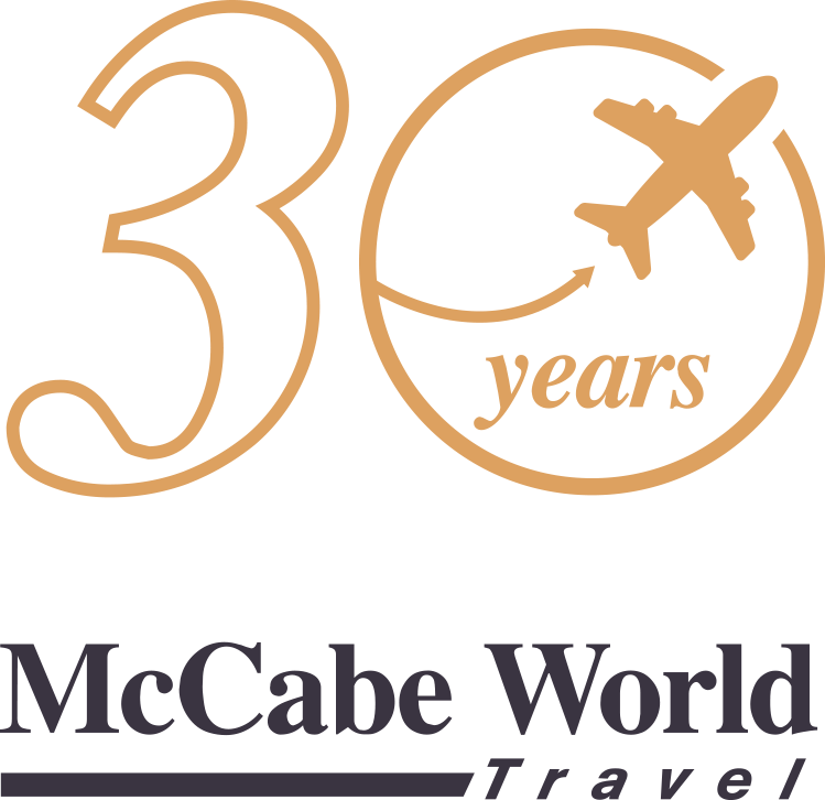 Celebrating 30 Years with McCabe World Travel – 30 Years Logo with Airplane